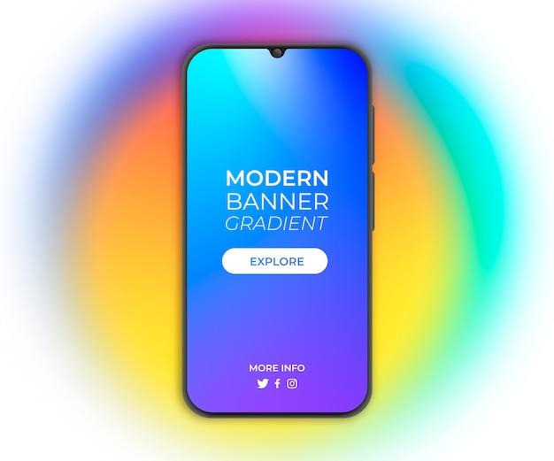 Banner mit farbverlauf für smartphone