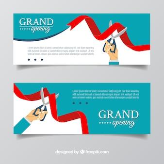 Banner mit flachem design öffnen
