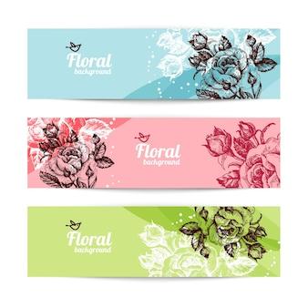 Banner mit floralem hintergrund. handgezeichnete illustration von rosen