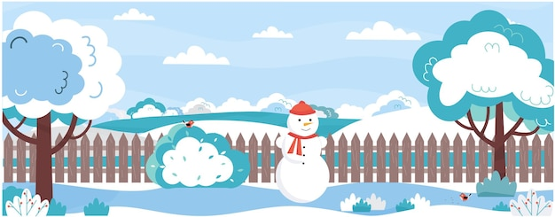 Banner mit garten im winter bäume büscheunter schnee hinterhof mit schneemannzaunvögeln