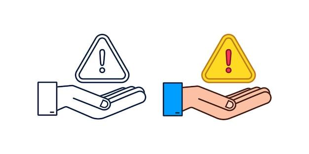 Banner mit gelber betrugswarnung über händen achtungszeichen cyber-sicherheitssymbol