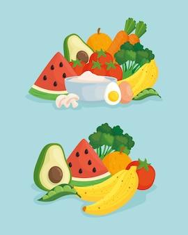 Banner mit gemüse und frischem obst, konzept gesundes essen