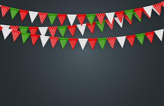 Banner mit girlande aus fahnen und bändern. feiertagspartyhintergrund für geburtstagsfeier, karneval.
