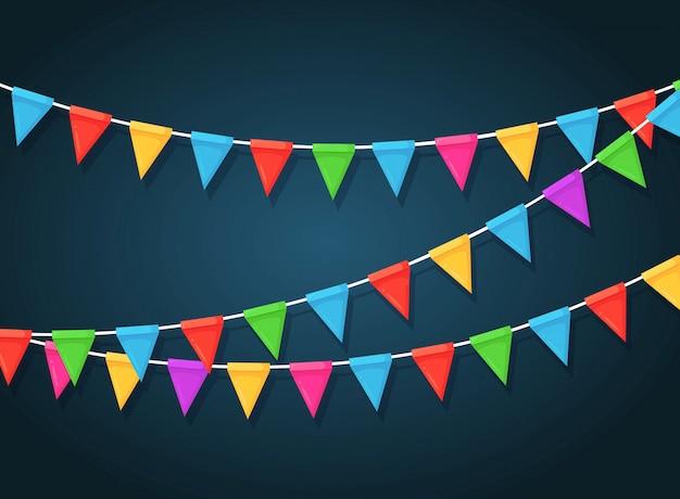 Banner mit girlande aus farbigen festivalflaggen und bändern, ammer. hintergrund zum feiern alles gute zum geburtstagsfeier, karneval, messe.