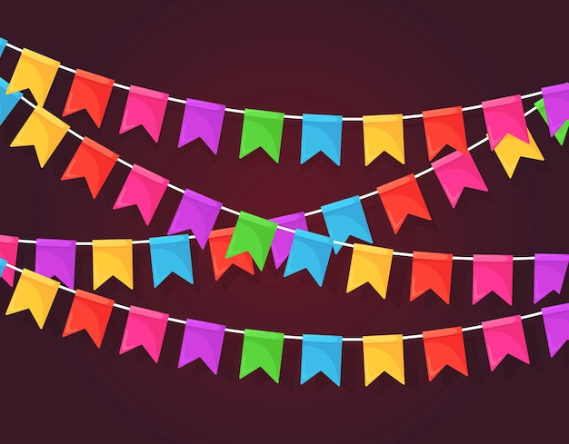 Banner mit girlande aus farbigen festivalflaggen und bändern, ammer.