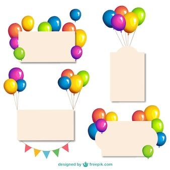 Banner mit glänzenden ballons