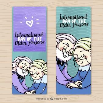 Banner mit glücklichen großeltern