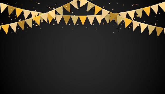 Banner mit goldener girlande aus flaggen und konfetti. feiertagspartyhintergrund