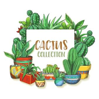 Banner mit handgezeichnetem kaktus in kisten. schild mit bunten mexikanischen cactaceae im topf oder aquarellkakteen. saftige pflanze mit blume, peyote-blüte.