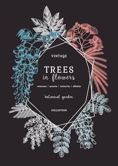 Banner mit handgezeichneten bäumen in blumen