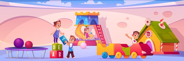 Banner mit kindern auf spielplatz im kindergarten banner