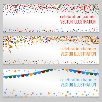 Banner mit konfetti für ereignisgeburtstag festliche weihnachten, neues jahr, vektorillustration