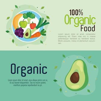 Banner mit lebensmitteln 100 prozent bio, konzept gesunde lebensmittel