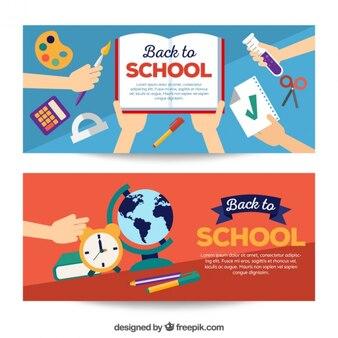 Banner mit materialien zu beginnen schule
