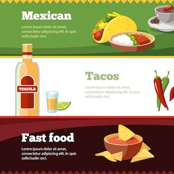 Banner mit mexikanischen traditionellen speisen gesetzt