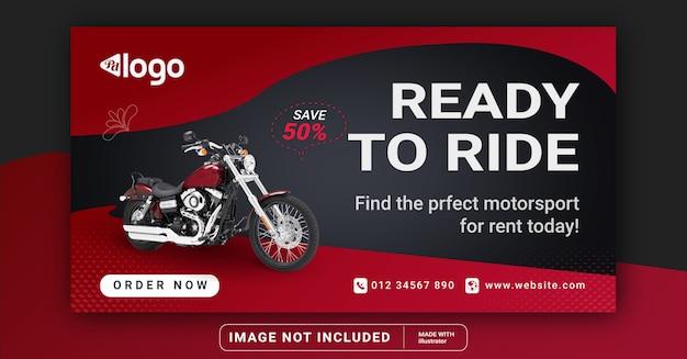 Banner mit motorrad. social media vorlage