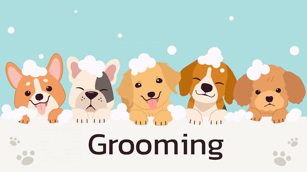 Banner mit niedlichen hunden mit seifenblase im flachen stil. abbildung der tierpflege