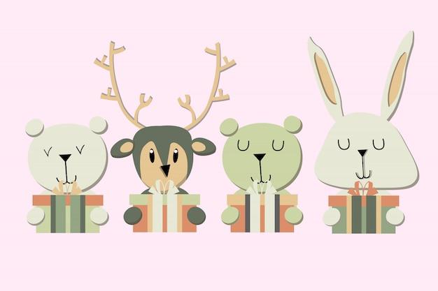 Banner mit niedlichen wintertieren mit geschenken. frohe weihnachten und ein glückliches neues jahr.