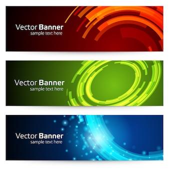 Banner mit runden geometrischen abstrakten formen