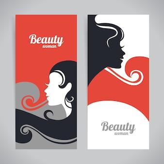 Banner mit stilvoller silhouette der schönen frau. karten mit vorlagendesign