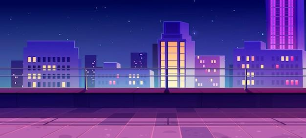 Banner mit terrasse auf dem dach mit blick auf die stadt bei nacht