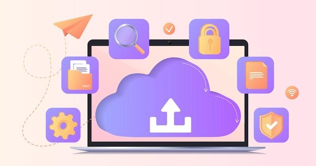 Banner mit upload-zeichen auf dem laptop-bildschirm torrent-datenpiraterie von servern dateiübertragung