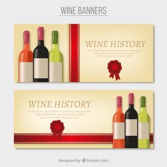 Banner mit verschiedenen weinflaschen