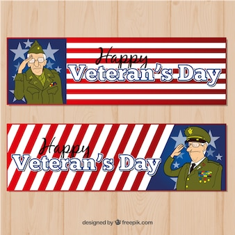 Banner mit veteranen-tag-illustrationen