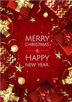 Banner mit weihnachtsbaumzweigen, goldenen sternen, weihnachtskugeln und platz für text,