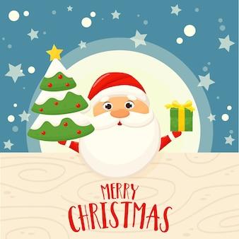 Banner mit weihnachtsmann, weihnachtsbaum und geschenk