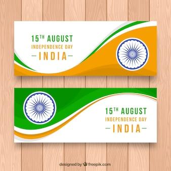 Banner mit wellen von indien unabhängigkeit tag
