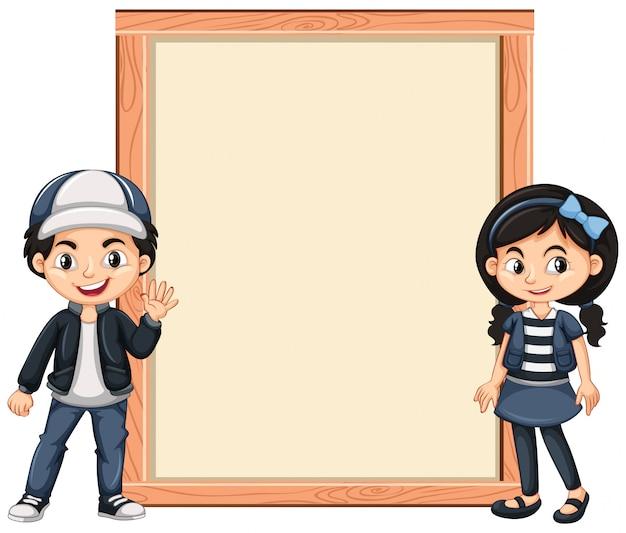 Banner mit zwei kindern