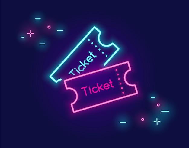 Banner mit zwei tickets für soziale netzwerke im neonlicht-stil auf dunklem hintergrund helle vektor-neon-kunst