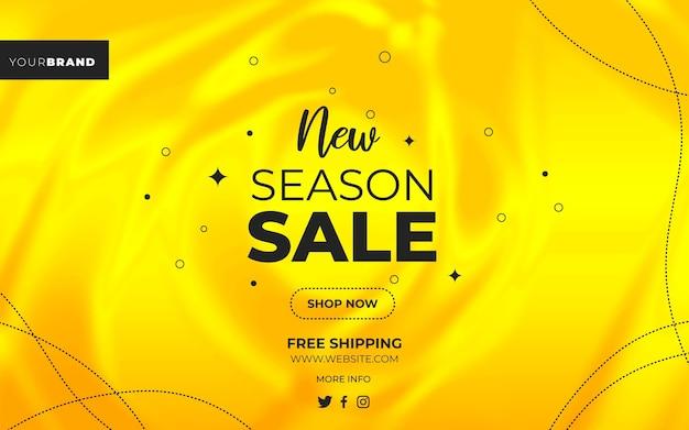 Banner neuer saisonverkauf im gelben farbverlauf