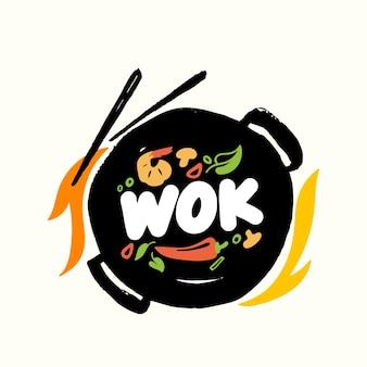 Banner oder emblem wok und stäbchen mit chinesischem essen und feuer-draufsicht. gebratene asiatische mahlzeiten, die konzept mit zutaten auf pan kochen. label für china house oder restaurant menu design. vektorillustration