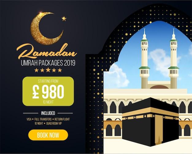 Banner- oder flyer-design für umrah-paketanzeigen, buchen sie günstige ramadan-umrah-pakete
