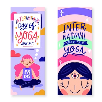 Banner packen mit internationalem tag des yoga