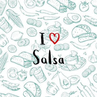 Banner poster mit skizzierten mexikanischen food-elementen mit schriftzug