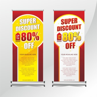 Banner-promotion-design aufrollen