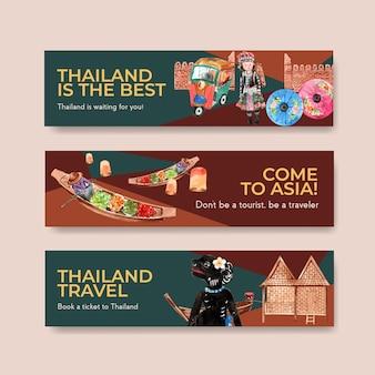 Banner-schablonensatz mit thailand-reise für werbung im aquarellstil