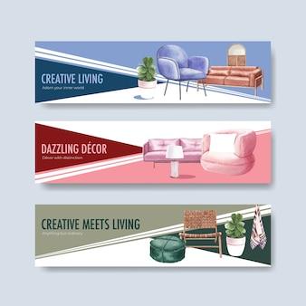 Banner-schablonenset mit luxusmöbeln im aquarellstil