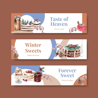 Banner-schablonenset mit winterbonbons im aquarellstil