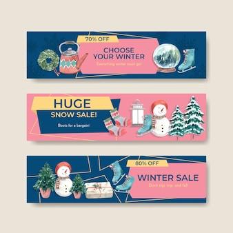 Banner-schablonenset mit winterverkauf für werbung im aquarellstil