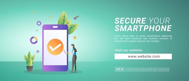 Banner schützt smartphone vor hackerangriffen. banner für werbemittel