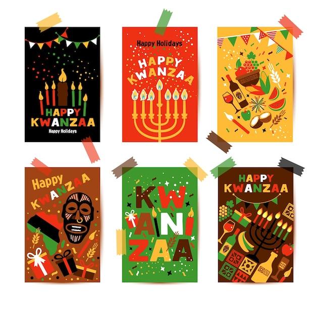 Banner-set für kwanzaa mit traditionellen farben und kerzen
