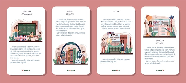 Banner-set für mobile anwendungen der englischen klasse. lernen sie fremdsprachen in der schule. grammatik- oder audiounterricht. idee der globalen kommunikation. fremdwortschatz lernen. flache vektorillustration