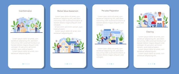 Banner-set für mobile anwendungen der immobilienbranche. maklerunterstützung