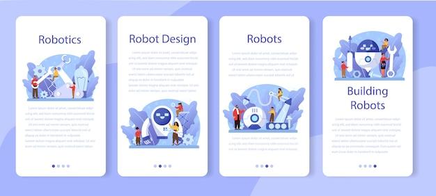 Banner-set für mobile anwendungen der robotikschule. robotertechnik und programmierung. idee von künstlicher intelligenz und futuristischer technologie. isolierte vektorillustration