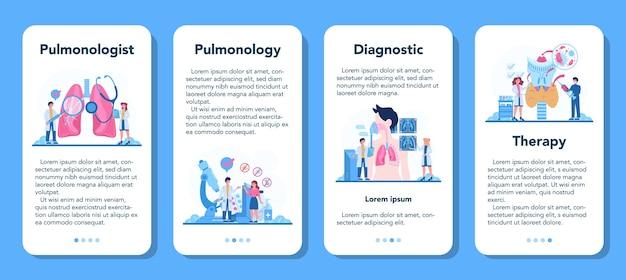 Banner-set für mobile anwendungen des pulmonologen