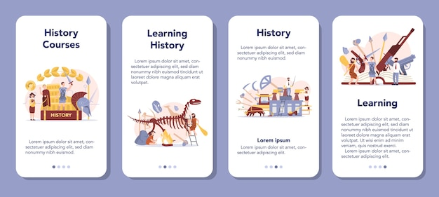 Banner-set für mobile anwendungen des verlaufskonzepts. geschichtsschulfach. idee von wissenschaft und bildung. kenntnis der vergangenheit und der antike. isolierte vektorillustration im flachen stil